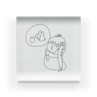 ゆるゆるゆぅちゃんと月のうさぎさん Acrylic Block