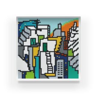 motchamのトワイライトなビルの街 ドット絵 Acrylic Block