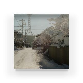 冬の街、大雪の日 Acrylic Block