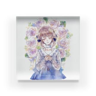 アクリルブロック「2月のバラのリース」 Acrylic Block