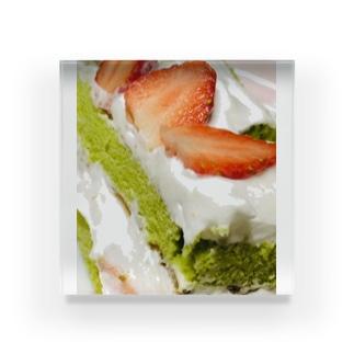 抹茶生地のとちおとめカットケーキ Acrylic Block