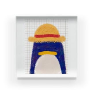 帽子屋シリーズ ペンギンの麦わら帽子 Acrylic Block