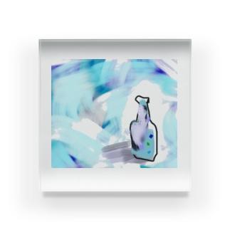 涼しげなガラス瓶 Acrylic Block
