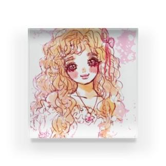 floral girl Acrylic Block