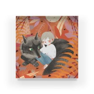 suzunamimariのオオカミ枕 Acrylic Block