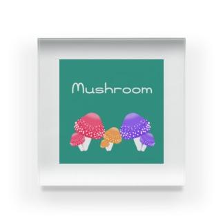 Mushroom Family Acrylic Block