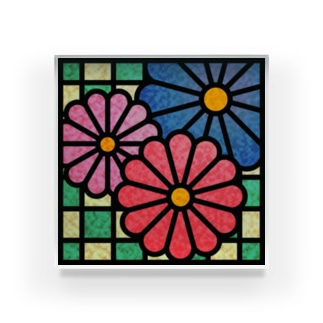 ねこやなぎ屋の和柄ステンドグラス風(菊×市松) Acrylic Block