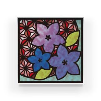 和柄ステンドグラス風(桔梗×麻の葉) Acrylic Block