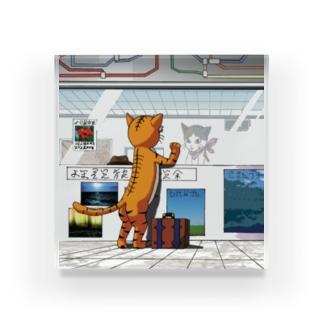 旅に出るネコ Acrylic Block