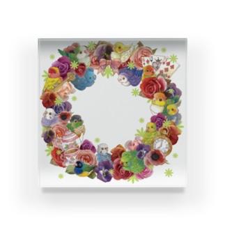 インコとお花リース Acrylic Block