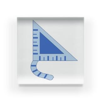 三角定規猫 青しま猫 Acrylic Block