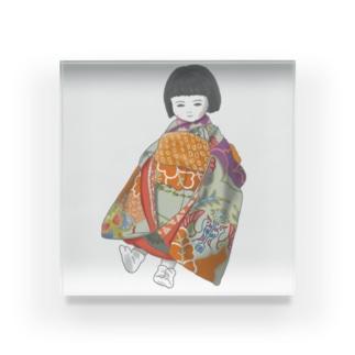 市松人形 茜 Acrylic Block