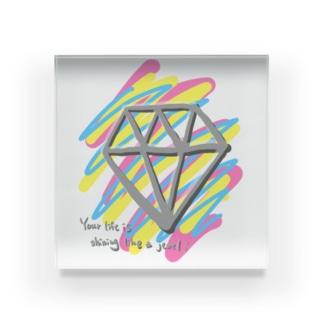 貴方の人生も宝石の様に輝いています (文字色違い) Acrylic Block
