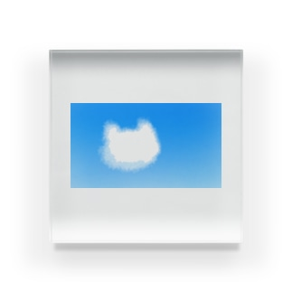 猫の雲が浮かぶ空 Acrylic Block