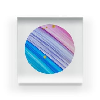 ✶レインボーストライプアート✶ Acrylic Block