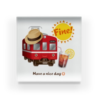 赤い電車 「 Fine ! 」 Acrylic Block