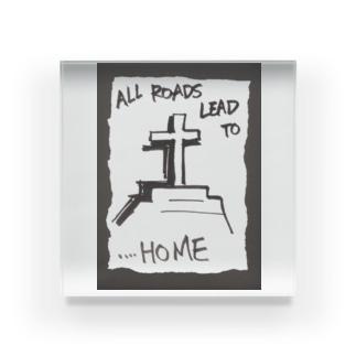 偽諺~弐~「全ての道はホームに通ず」(黒縁) Acrylic Block