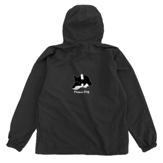 ペタンする黒の柴犬(白文字) Anorak