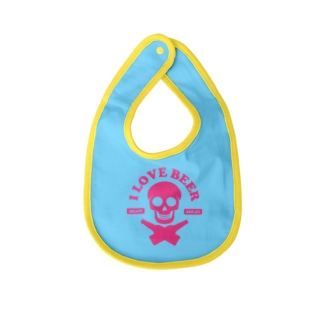 i love beer(Type Skull) Baby bibs