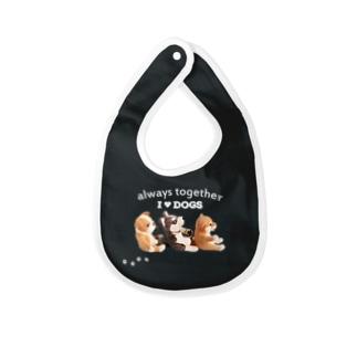 I ♥ dogs 柴犬 シベリアンハスキー ブルドッグの 仲良しトリオ(白文字Ver.) Baby bibs