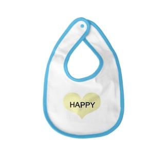 シンプル HAPPYロゴ ハート Baby bibs