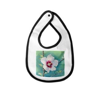 ムクゲ:透明水彩でお花の絵 Baby bibs