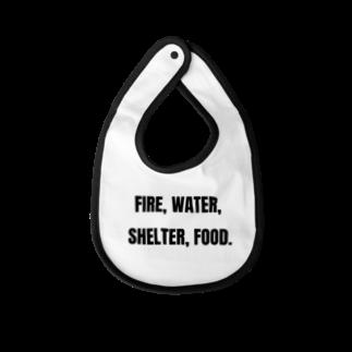 貴重なタンパク源のFire, water, shelter, food.(貴重なタンパク源) Baby bibs