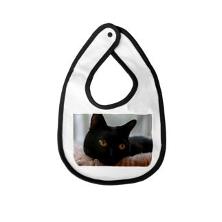 polepole-officeの黒猫ヴィヴィの日向ぼっこ Baby bibs