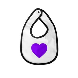 大きさ≠気持ち(紫) Baby bibs