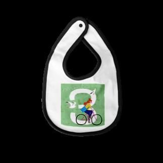 HAPPY BIRTHDAY SHOPの3月生まれの、自転車で春を駆け巡るちゃん Baby bibs