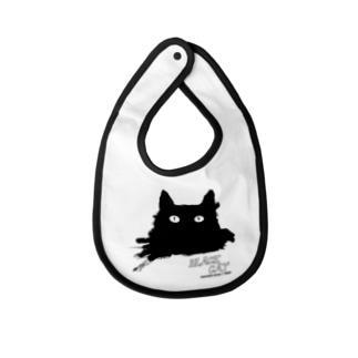 キャッティ(オフィシャル)ネコ好き集まれ!!のBLACK CATシリーズ(ネコ/猫) Baby bibs