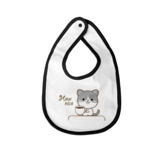 大人のためのねこの黒白猫のシンプルモノトーン Baby bibs