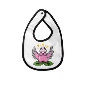 腹割れモモイロインコの桃 Baby bibs