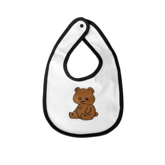 茶色のかわいい無表情クマさん Baby Bib