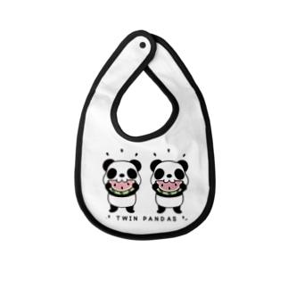 CT168 TWIN PANDAS 一緒のスイカ Baby bibs