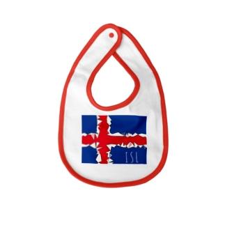 ISL アイスランド国旗デザイン Baby bibs