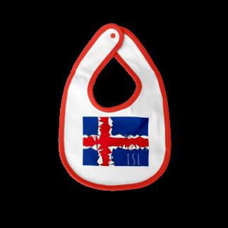 mijokulのISL アイスランド国旗デザイン Baby bibs
