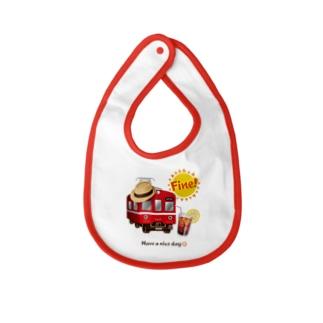 赤い電車 「 Fine ! 」 Baby Bib