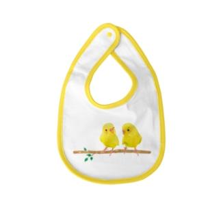 幸せの黄色いセキセイインコ Baby bibs