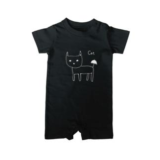 猫と傘 白抜き・黒縁あり ベイビーロンパース