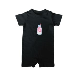 イチゴミルクボトル ベイビーロンパース