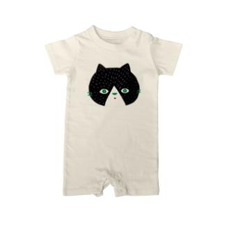 黒猫のにゃんご Baby rompers