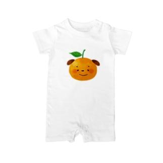 オレンジわんこ ベイビーロンパース