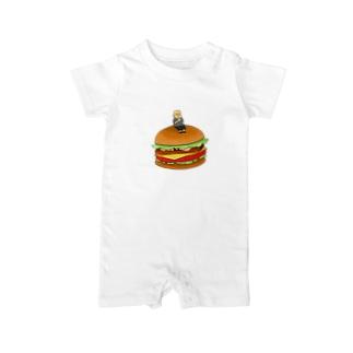 大きなハンバーガー ベイビーロンパース