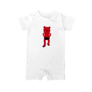 潔い姿の熊(赤) ベイビーロンパース