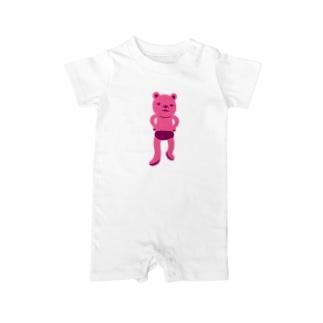 潔い姿の熊(ピンク) ベイビーロンパース