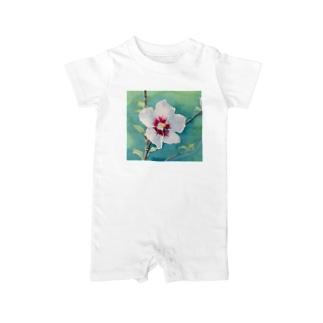 ムクゲ:透明水彩でお花の絵 ベイビーロンパース