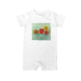 ガーベラとかすみ草2:透明水彩でお花の絵 ベイビーロンパース