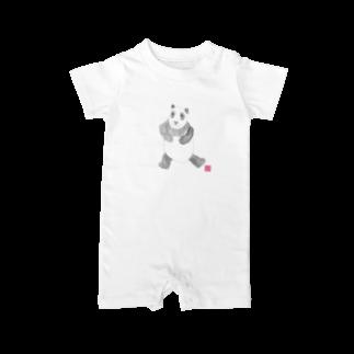 ★いろえんぴつ★のパンダさん ベイビーロンパース