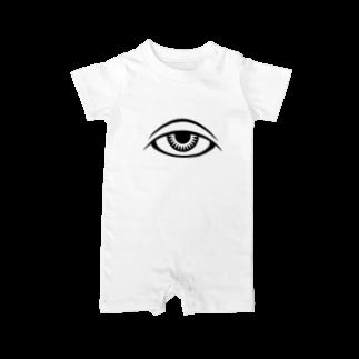 呪術と魔法の銀孔雀の呪術と瞳ベイビーロンパース